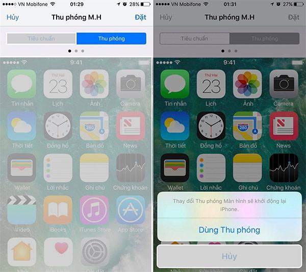 Cách phóng to, thu nhỏ biểu tượng trên iPhone (2)
