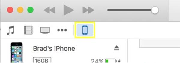 Chọn biểu tượng iPhone trên iTunes